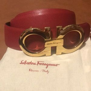 NEW-Red Salvatore Ferragamo belt with gold buckle.